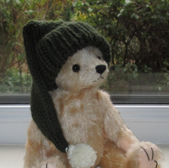 Teddy Bear Clothes Green Pixie Elf Hat Hand Knitted to fit a