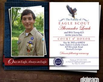 Eagle Scout Court of Honor Invitation: Eagle Family with Photo - Digital File