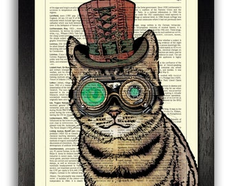 STEAMPUNK CAT Print, Cat Wall Art, Cat Illustration, Steampunk Cat Poster Artwork, Steampunk Wall Decor, Kitten Picture, Cat Painting Print