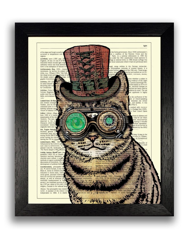 steampunk cat print cat wall art cat illustration steampunk. Black Bedroom Furniture Sets. Home Design Ideas