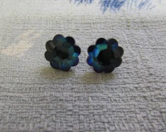 Vintage blue crystal flower earrings, pierced ears