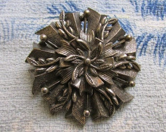Mid-century silver-tone heavy white metal large rosette brooch