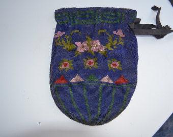 Handmade Antique Purse Blue Beaded Drawstring Handbag