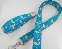 Flamingo Key Lanyard Pink Flamingo Keychain Teacher Lanyard Flamingo Key Ring Flamingo Key Fob Bird  Bird Necklace Blue Flamingo Lanyard