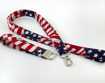 Lanyard Teacher Lanyard American Flag Lanyard Stars and Stripes Lanyard Fourth of July Lanyard USA Lanyard  Patriotic Lanyard
