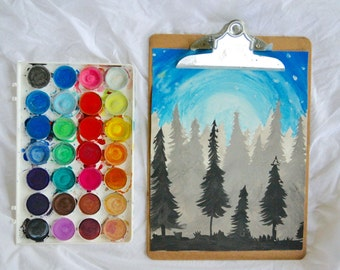 STARRY FOREST watercolor 8.5x11 print night evergreen trees ad blue for your home