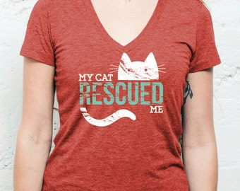 SALE: My Cat Rescued Me V-Neck