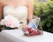 Geometric Wedding Centerpiece, Glass Terrarium, Jewelry Box, Sweetheart Table Decor, Spring Wedding, Copper Planter, Diamond Terrarium