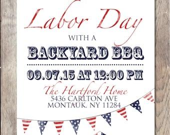 Labor Day BBQ, Labor Day Party, Labor Day, BBQ Invitation, American Flag, Summer BBQ Invitation, Summer Party Invitation, Printable Invite