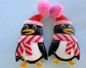 Penguin earrings-penguin jewelry-kids clip on earrings-Childrens jewelry-Penguin Studs-Winter earrings-Christmas earrings-stocking suffers-