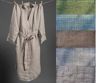 Custom sewing for men. Waffle 100% linen bath sauna robe kimono wrapper, overall, robe, dressing-gown. Gray, brown, green, blue available.