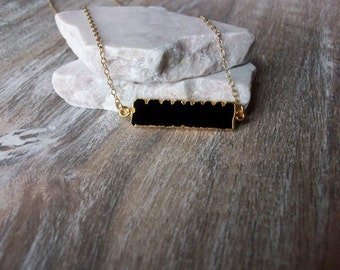Black Onyx Gold Bar Pendant Gold Filled Chain Unique Bar Style Black Onyx Necklace Different Black Onyx Horizontal Bar Gold Necklace BA104