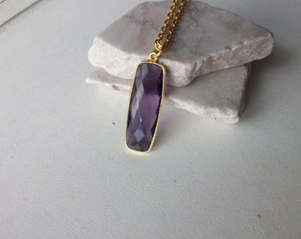 Amethyst Necklace/Amethyst Pendant/Amethyst Bar Necklace/February Birthstone/Unique Bar Necklace/Purple Amethyst/Layering Necklace/BA004