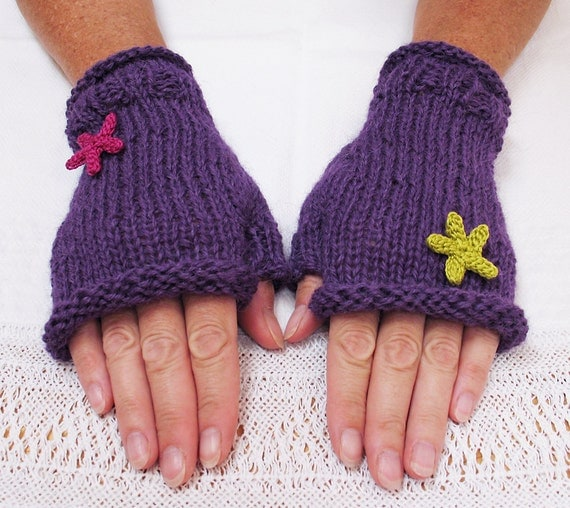 fingerless gloves knitted gloves alpaca gloves by KnitaFrolic