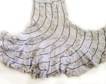 White Fishtail long Skirt, Gypsy boho skirt, Indian Bollywood Skirt with sequin work and shining