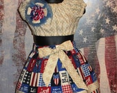 Cotton Boutique Set Patriotic 4th July Red Blue Handmade Baby Infant  6 12 18 24 month Toddler 2T 3 4 Girl Elastic Skirt Crop Top Bow Outfit