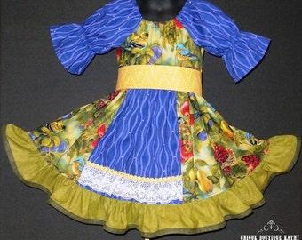 Girls, Fall Dress, Thanksgiving Dress, Toddler, Peasant Dress, Apron, Birds, Berries, Fruit, Green, Purple, Custom, Boutique, Sleeve, Ruffle