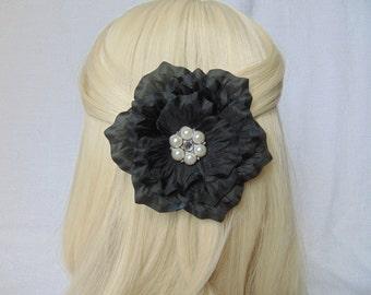 Black Hair Piece - Black Hair Clip - Flower Hair Piece - Flower Hair Clip - Black Flower Clip - Bridal Hair Piece - Flower Clip