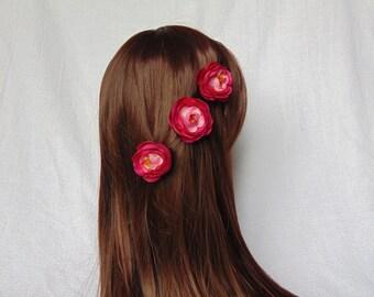 Flower Hair Clip - Hair Clip Set - Pink Hair Clips - Bridal Hair Piece - Pink Hair Piece - Pink Flower Clips - Flower Hair Piece