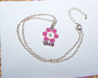 "Pink & White Flower Best Necklace / Monogram Necklace / Word Necklace ""Best"" / Quote / Name / Silver Angel"