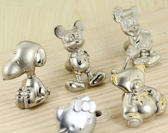 Children Room Knobs Cartoon Drawer Pull Handle Dresser Knobs Pulls Kitchen Cabinet Door Knobs Silver Kids Furniture Knobs Handles Hardware