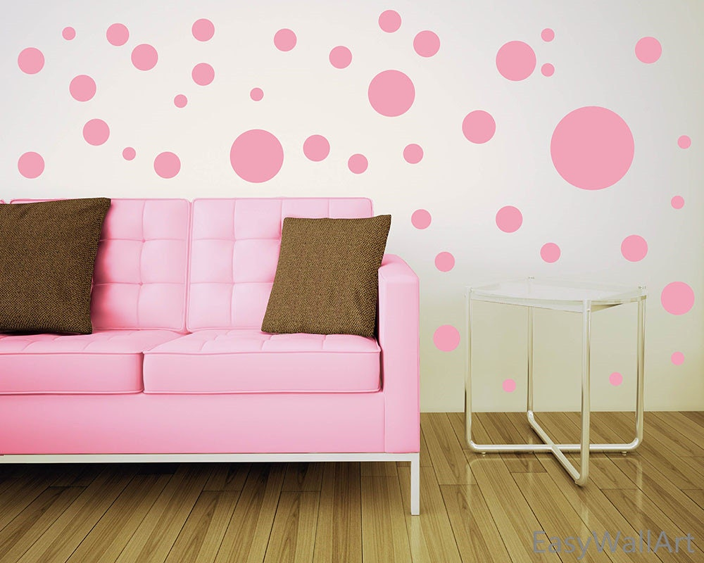 assorted size polka dots wall decal different size polka dot. Black Bedroom Furniture Sets. Home Design Ideas