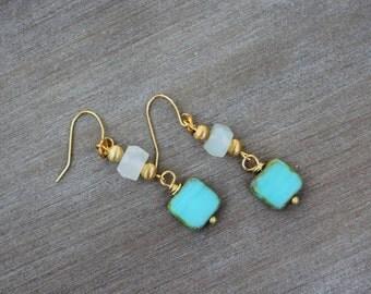 Czech Glass and Stone Earrings. Gemstone Earrings. Stone Jewelry. Gold Earrings. Gift Idea.