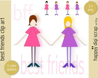 best friends clip art girls - instant download - best friend png - commercial use allowed - bff - friendship clip art - girl - pink - purple