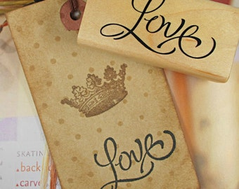 Korean Kawaii Wooden Rubber Stamps Deco Stamp Diary Stamp Vintage Style Stamp- Love 01