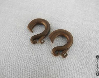 "Tribal Ear Plugs Hook Gauge Earring,Hooks Expanders,Antiq bronze gauges,size 6,8,10,12,14,16,18,19;2g,0g,00g;1/4,5/16,3/8,1/2,9/16,5/8,3/4"""