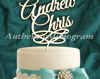 Wooden CAKE TOPPER His and Her Names, Wedding decor, Engagement, Anniversary, Celebration, Special Occasion, Love