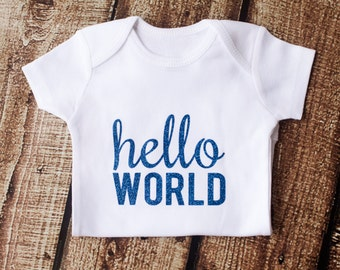 Newborn Outfit, Hello World, Baby Shower Gift, Coming Home Outfit, Going Home Outfit, Baby Gift, Newborn Onesie,