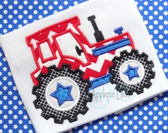 Star Tractor Digital Applique Design - Independence Day - July 4th - 4th of July - Machine Embroidery