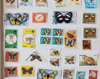 42 BUTTERFLIES  Vintage International Postage Stamps - Scrapbooking - Card Making - Collecting