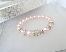 Baby Girl Bracelet, Newborn Pink Swarovski Bracelet, God Daughter gift,Newborn gift, Girl's First Pearls, Pink Swarovski baby girl bracelet