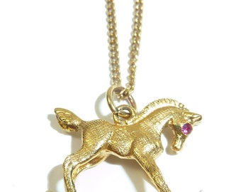 Pretty Little Gold Rocking Horse Necklace