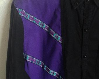 80s Purple Black Western Shirt // Vintage Southwestern Long Sleeve Button Down Shirt // Men's M, Women's L