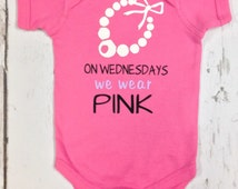 On Wednesdays We Wear Pink - Baby Girl Onesie With White Pearl Neclace