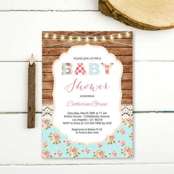 shabby chic baby shower invitation girl rustic vintage baby shower