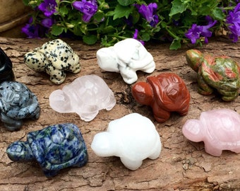 Crystal Healing - Carved Gemstone Turtle Ornament, Healing Crystals and Stones, Rose Quartz, Clear Quartz, Jasper, Obsidian