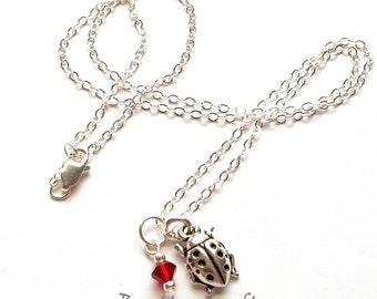 Silver Ladybug Necklace - Ladybug Necklace - Ladybug Jewelry - Insect Necklace - Insect Jewelry