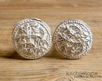 """SET OF 2 - Antiqued White """"Lace"""" Inspired Distressed Metal Pewter Knob - Cream Ivory Rustic Shabby Chic Painted Drawer Pull Decorative Tree"""