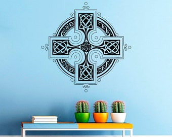 Celtic Cross Wall Decal- Antique Celtic Cross Wall Decals Vinyl Stickers- Irish Wall Cross Decor Living Room Bedroom Dorm Home Decor Z815