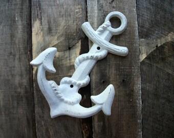 Bright White Cast Iron Anchor Wall Hook Nautical Nursery Accessory Beach House Bathroom Towel Hanger Sailor Wall Decoration