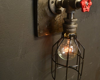 Steampunk fixture - wood fixture - Industrial wood - Wood light - wall lamp - old decor - old home -  vintage home - light fxture -