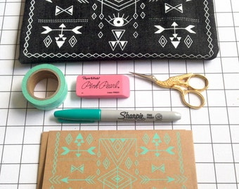 Hand screen printed Minimal Geometric Denim zipper pouch