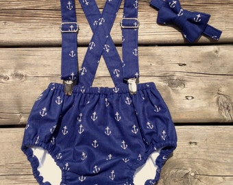 Baby Boy Nautical Diaper Cover Set, Baby boy Bloomer, Diaper Cover - 3pc. Diaper Cover, Suspenders and Bowtie.