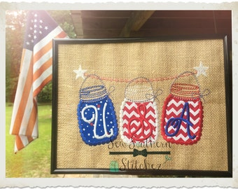 Mason Jar Fourth of July Applique Design ~ Mason Jar Banner ~ Instant Download