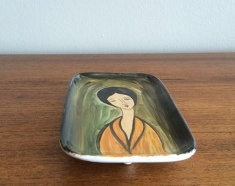 Mid Century Hand Painted Ceramic Dish, made in Italy