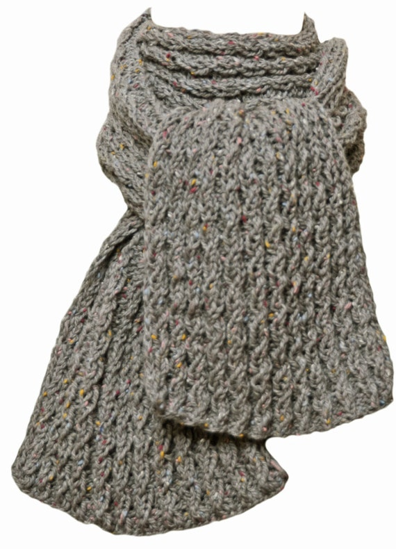 French Knitting Scarf : Hand knit scarf grey tweed french wool cable rib